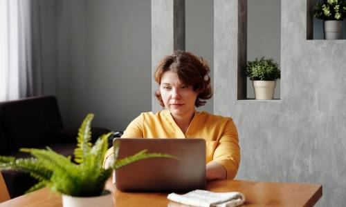 A woman sitting at a laptop